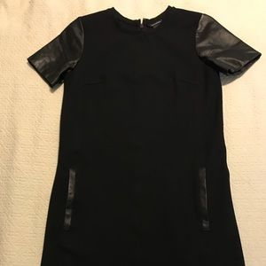 Club Monaco Black Shift Dress, 00 Leather Sleeves